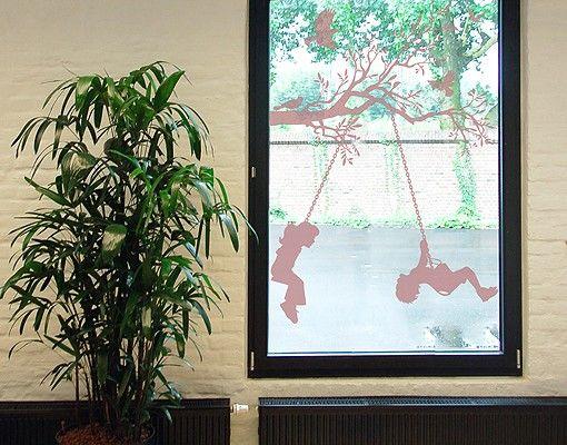 Fensterfolie - Fenstertattoo No.RS84 Schaukelnde Kinder - Milchglasfolie