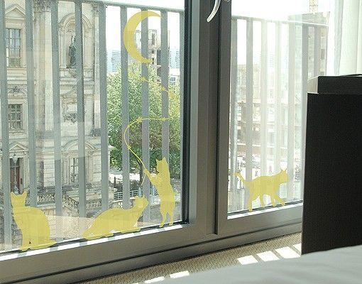 Fensterfolie - Fenstertattoo No.RS98 Katzen mit Mond - Milchglasfolie