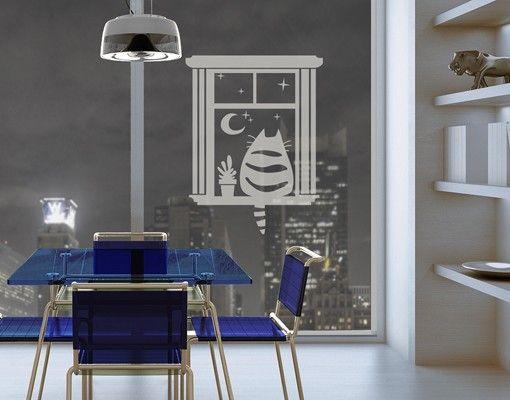 Fensterfolie - Fenstertattoo No.MW97 Katzenkino - Milchglasfolie