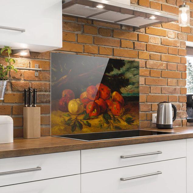 Glas Spritzschutz - Gustave Courbet - Apfelstillleben - Querformat - 4:3
