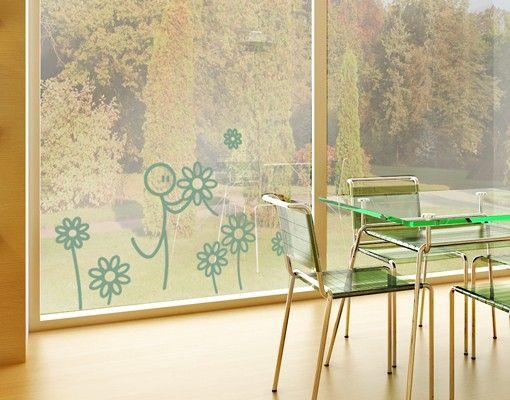 Fensterfolie - Fenstertattoo No.IF3 Blumengarten - Milchglasfolie