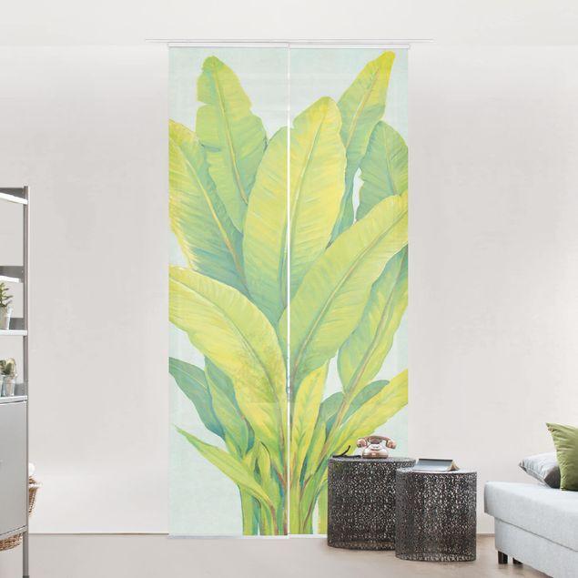 Schiebegardinen Set - Gelbgrüne Bananenblätter - Flächenvorhang