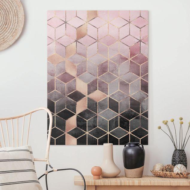 Leinwandbild - Rosa Grau goldene Geometrie - Hochformat 4:3