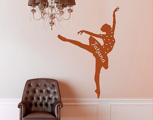 Wandtattoo Ballett - No.RS105 Wunschtext Ballett - Wandaufkleber Ballerina Tänzerin