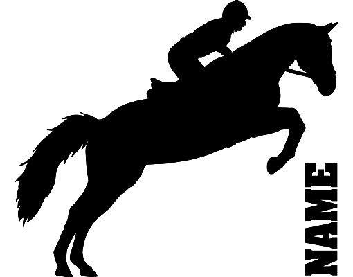 Wandtattoo Pferd No.RS113 Wunschtext Springreiten