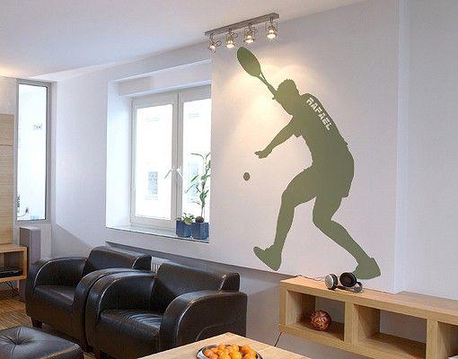 Wandtattoo No.RS116 Wunschtext Tennisspieler