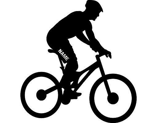 Wandtattoo Kinderzimmer No.RS121 Wunschtext Radfahrer