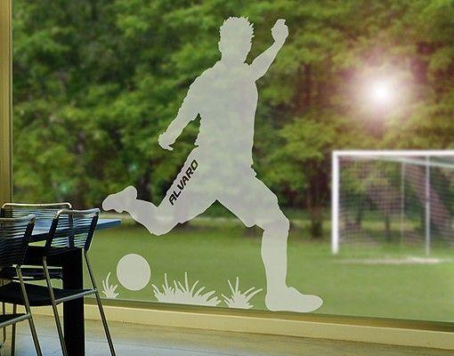 Fensterfolie - Fenstertattoo No.RS112 Wunschtext Fußball - Milchglasfolie