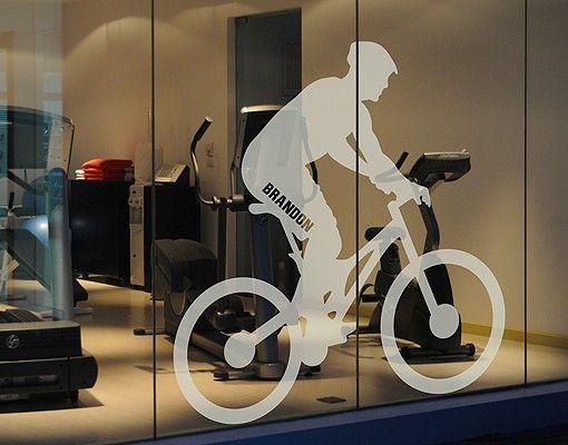 Fensterfolie - Fenstertattoo No.RS121 Wunschtext Radfahrer - Milchglasfolie