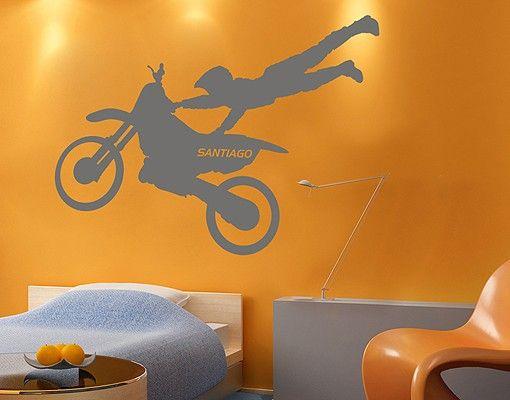Wandtattoo Kinderzimmer No.RS131 Wunschtext Motocross