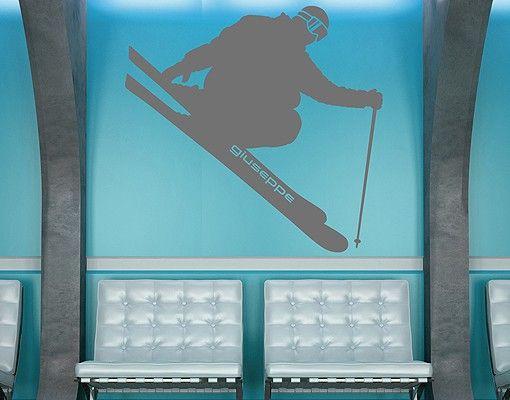 Wandtattoo Kinderzimmer No.RS134 Wunschtext Skifahren