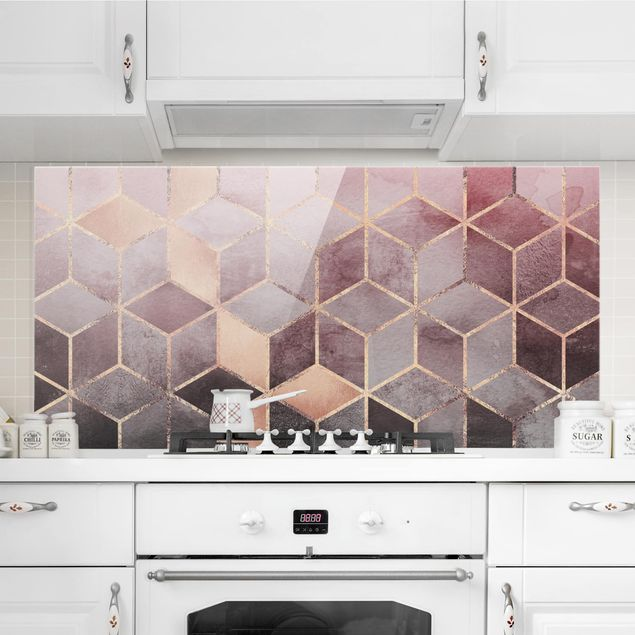 Spritzschutz Glas - Rosa Grau goldene Geometrie - Querformat 1:2