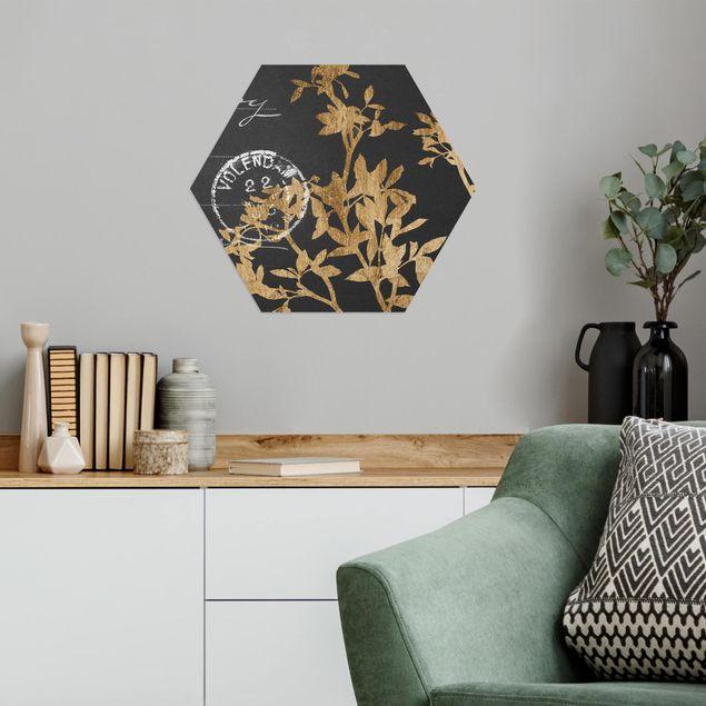 Hexagon Bild Alu-Dibond - Goldene Blätter auf Mokka II