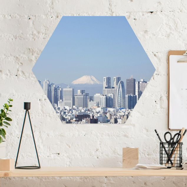 Hexagon Bild Alu-Dibond - Tokio vor dem Fuji