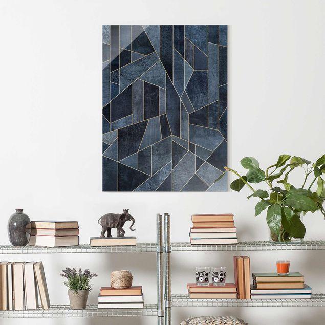 Glasbild - Blaue Geometrie Aquarell - Hochformat 4:3