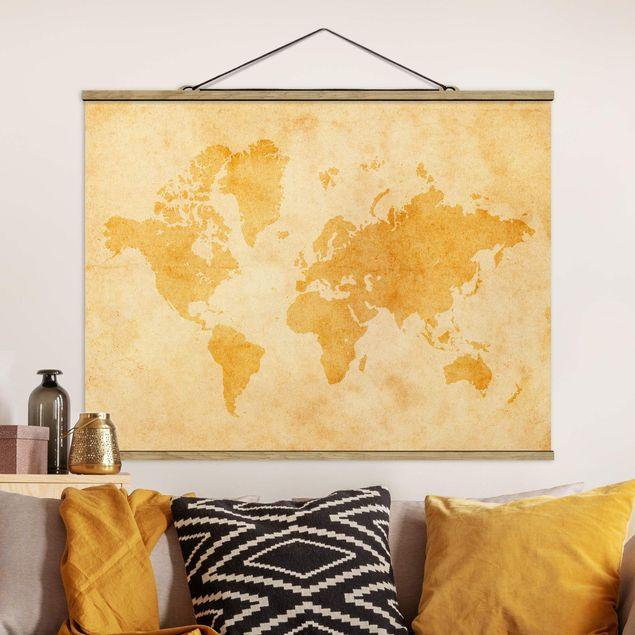 Stoffbild mit Posterleisten - Vintage Weltkarte - Querformat 3:4