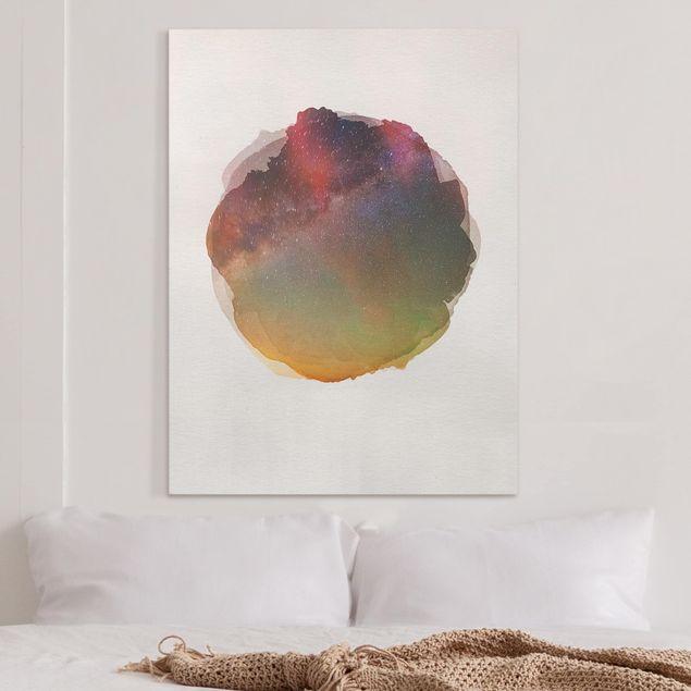 Leinwandbild - Wasserfarben - Sternenhimmel über dem Meer - Hochformat 4:3