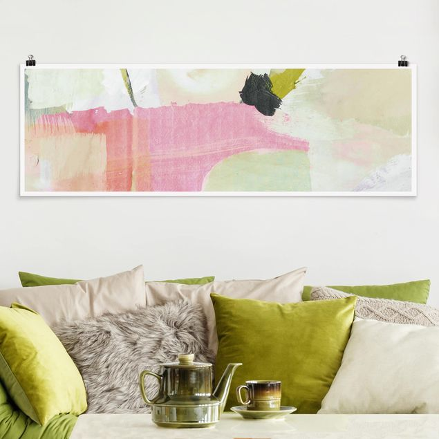 Poster - Klangspiel in Rosé II - Panorama Querformat