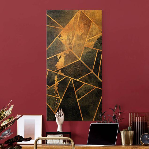 Leinwandbild Gold - Onyx mit Gold - Hochformat 1:2