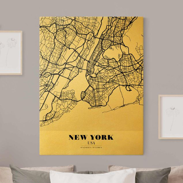 Leinwandbild Gold - Stadtplan New York - Klassik - Hochformat 3:4