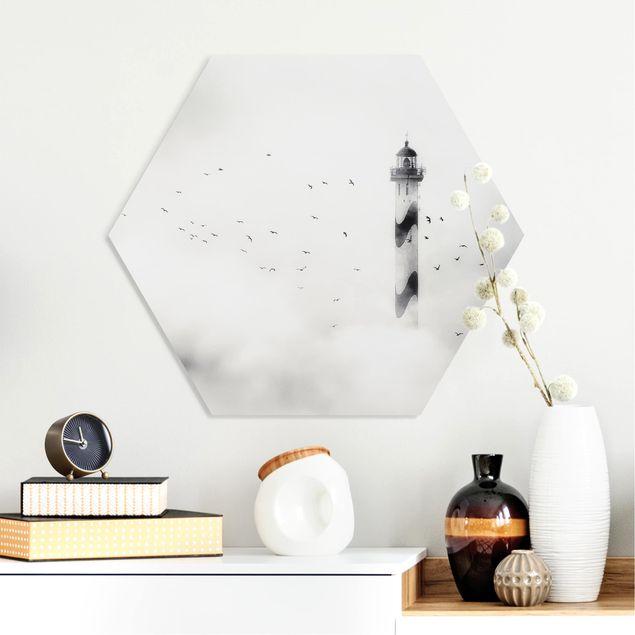 Hexagon Bild Forex - Leuchtturm im Nebel