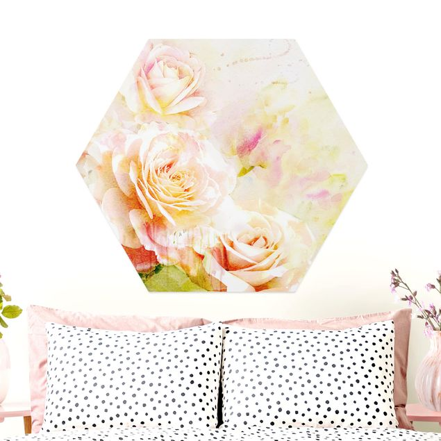 Hexagon Bild Alu-Dibond - Aquarell Rosen Komposition
