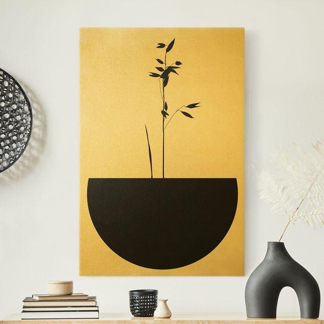 Leinwandbild Gold - Grafische Pflanzenwelt - Zartes Wachstum - Hochformat 2:3
