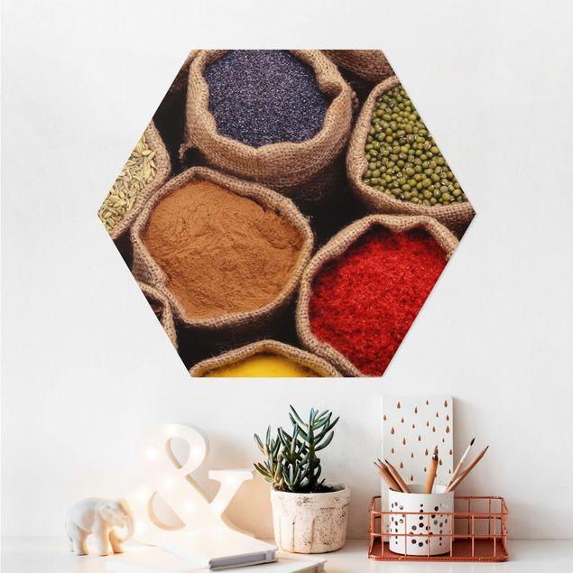 Hexagon Bild Alu-Dibond - Colourful Spices