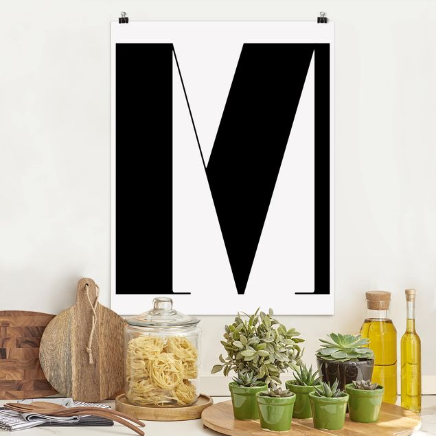 Poster - Antiqua Letter M - Hochformat 3:4