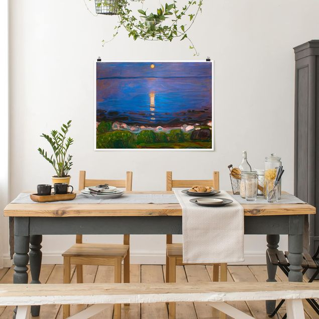 Poster - Edvard Munch - Sommernacht am Meeresstrand - Querformat 3:4