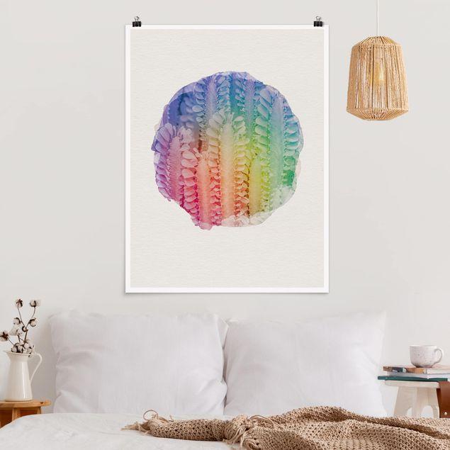 Poster - Wasserfarben - Kaktus Euphorbia Trigona - Hochformat 4:3