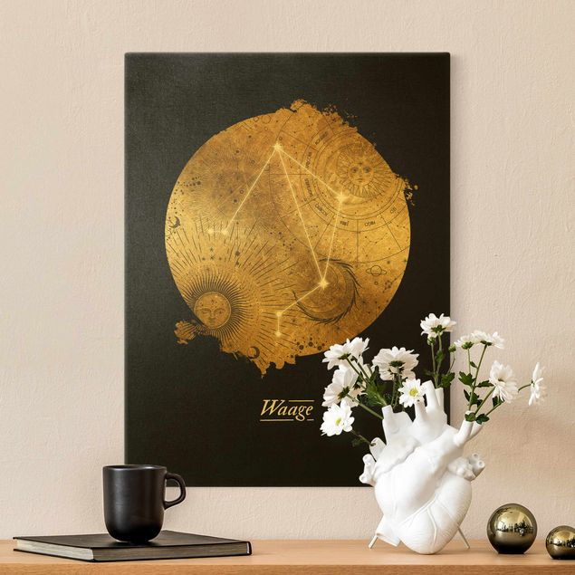 Leinwandbild Gold - Sternzeichen Waage Grau Gold - Hochformat 3:4