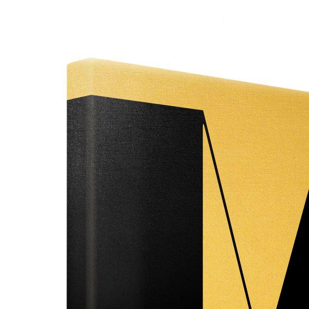 Leinwandbild Gold - Antiqua Letter M - Hochformat 3:4