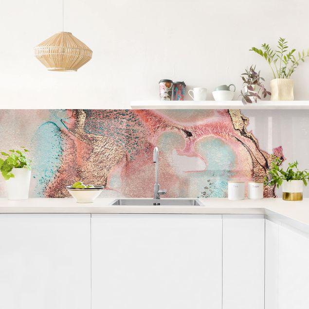 Küchenrückwand - Goldenes Aquarell Rosé