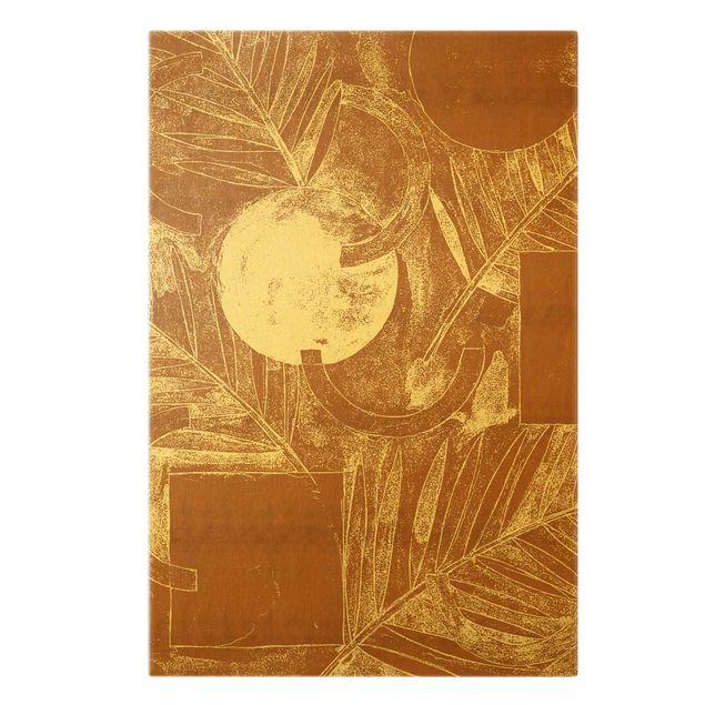 Leinwandbild Gold - Formen und Blätter Kupfer I - Hochformat 2:3