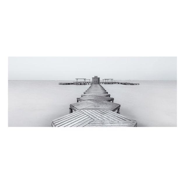 Forex Fine Art Print - Hölzerner Pier und Schwarz-weiß - Panorama