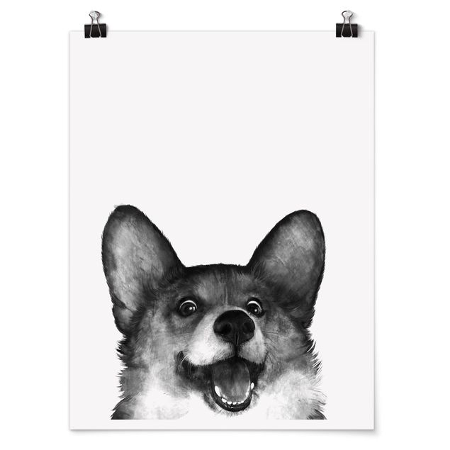 Poster - Illustration Hund Corgi Weiß Schwarz Malerei - Hochformat 4:3