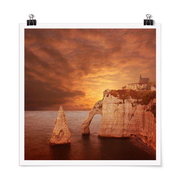 Poster - Etretat Sunset Cliffs - Quadrat 1:1