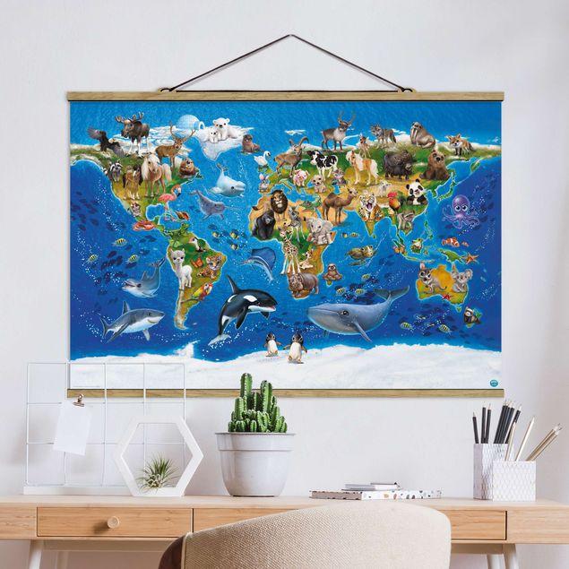 Stoffbild mit Posterleisten - Animal Club International - Weltkarte mit Tieren - Querformat 2:3
