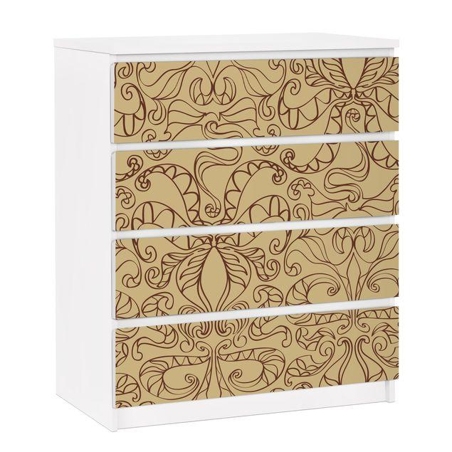 Möbelfolie für IKEA Malm Kommode - selbstklebende Folie Spirituelles Muster Beige