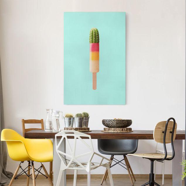 Leinwandbild - Jonas Loose - Eis mit Kaktus - Hochformat 3:2