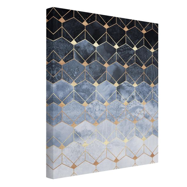 Leinwandbild - Blaue Geometrie goldenes Art Deco - Hochformat 4:3