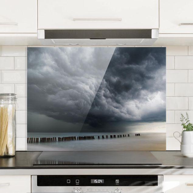 Glas Spritzschutz - Sturmwolken über der Ostsee - Querformat - 4:3