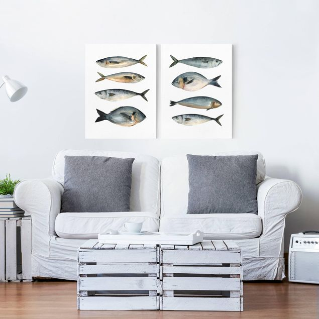 Leinwandbild 2-teilig - Acht Fische in Aquarell Set I - Hoch 4:3