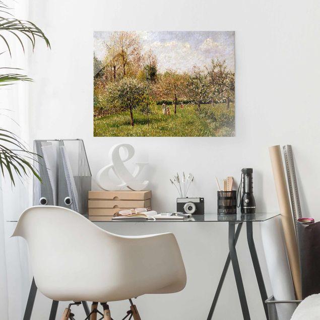 Glasbild - Camille Pissarro - Frühling in Eragny - Querformat 3:4