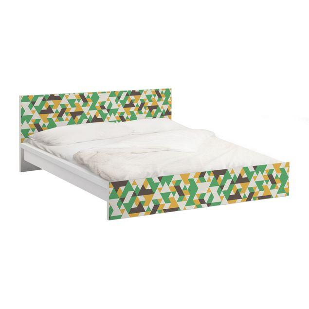 Möbelfolie für IKEA Malm Bett niedrig 160x200cm - Klebefolie No.RY34 Green Triangles