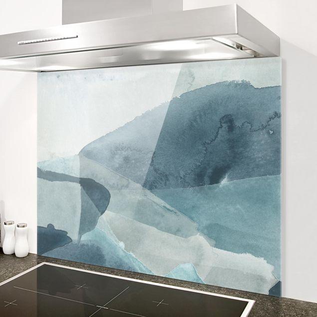 Glas Spritzschutz - Wogen in Blau I - Querformat - 4:3
