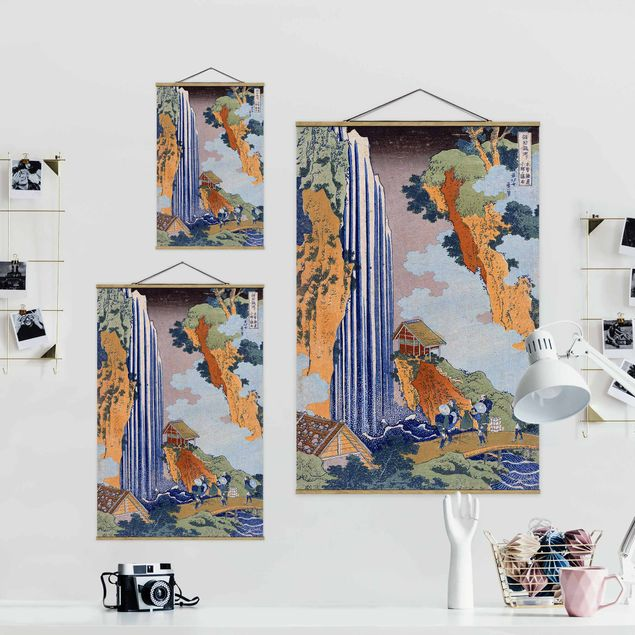Stoffbild mit Posterleisten - Katsushika Hokusai - Ono Wasserfall - Hochformat 2:3