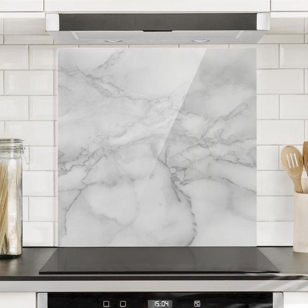 Glas Spritzschutz - Marmoroptik Schwarz Weiß - Quadrat - 1:1