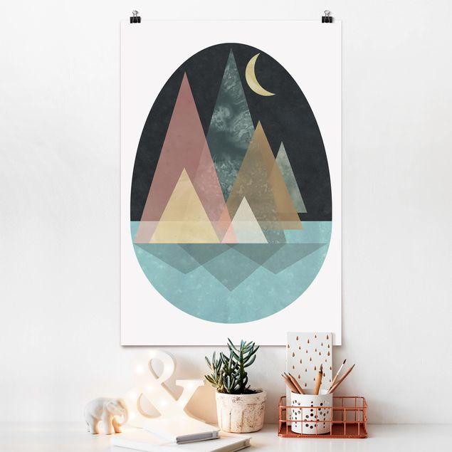 Poster - Utopische Landschaft - Mond - Hochformat 3:2